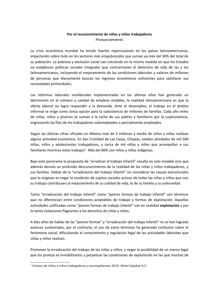 Por el reconocimiento de niñas y niños trabajadores                                            Pronunciamiento  La crisis ...