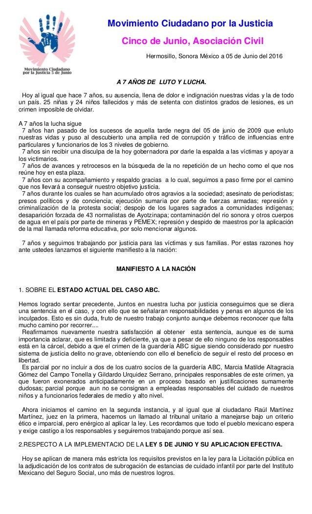 Movimiento Ciudadano por la Justicia Cinco de Junio, Asociación Civil Hermosillo, Sonora México a 05 de Junio del 2016 A 7...