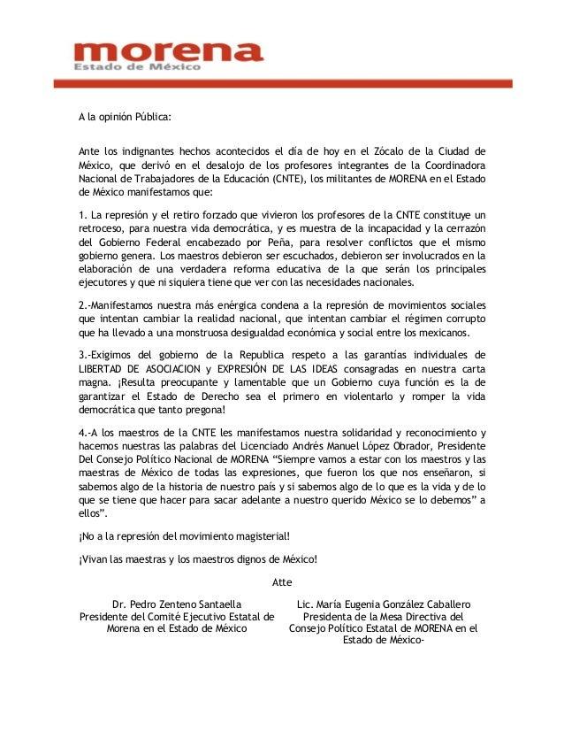 A la opinión Pública: Ante los indignantes hechos acontecidos el día de hoy en el Zócalo de la Ciudad de México, que deriv...