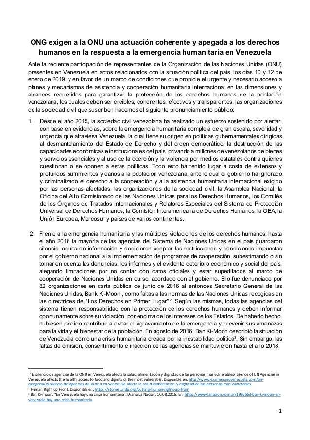 1 ONG exigen a la ONU una actuación coherente y apegada a los derechos humanos en la respuesta a la emergencia humanitaria...