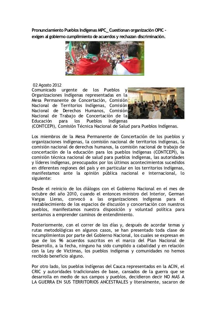 Pronunciamiento Pueblos Indígenas MPC_ Cuestionan organización OPIC -exigen al gobierno cumplimiento de acuerdos y rechaza...