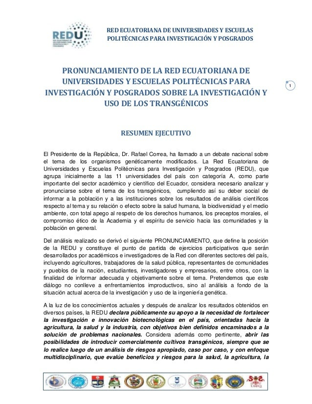 RED ECUATORIANA DE UNIVERSIDADES Y ESCUELAS                         POLITÉCNICAS PARA INVESTIGACIÓN Y POSGRADOS    PRONUNC...