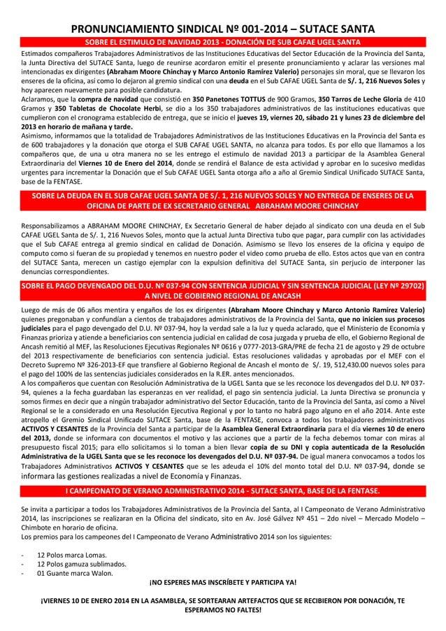 PRONUNCIAMIENTO SINDICAL Nº 001-2014 – SUTACE SANTA SOBRE EL ESTIMULO DE NAVIDAD 2013 - DONACIÓN DE SUB CAFAE UGEL SANTA E...