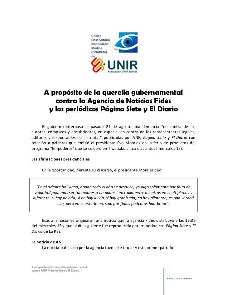 A propósito de la querella gubernamental            contra la Agencia de Noticias Fides          y los periódicos Página S...