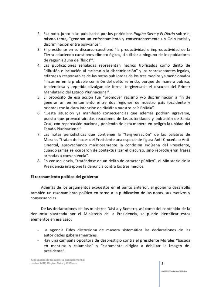 """2. Esa nota, junto a las publicadas por los periódicos Pagina Siete y El Diario sobre el       mismo tema, """"generan un enf..."""
