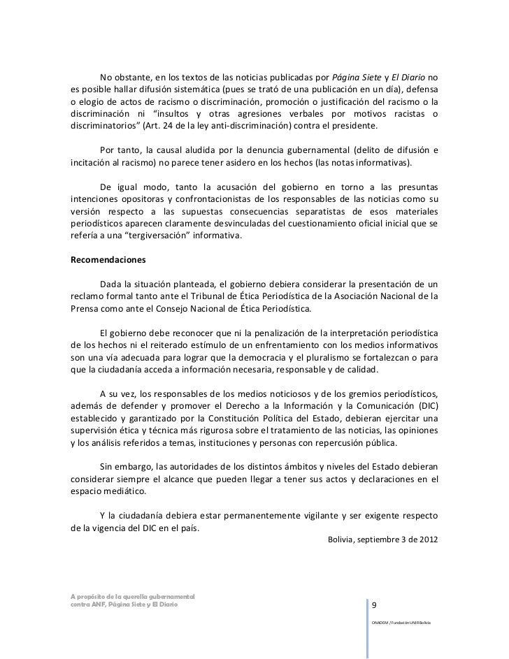 No obstante, en los textos de las noticias publicadas por Página Siete y El Diario noes posible hallar difusión sistemátic...