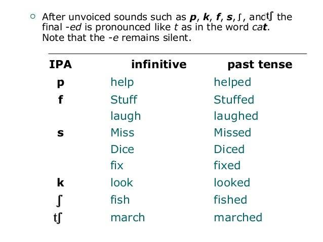 pronunciation simple past of regular verbs