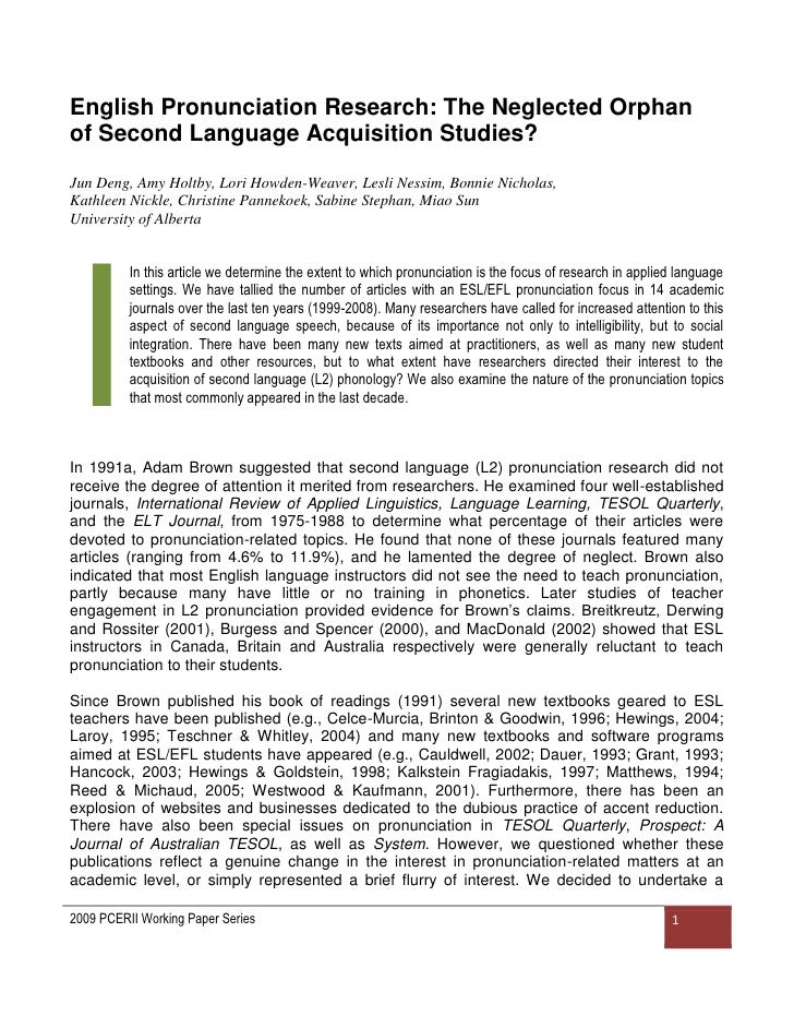 research document concerning esl