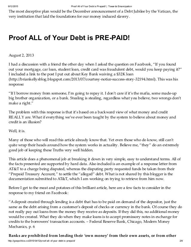 PROOF ALL OF YOUR DEBT IS PREPAID Slide 2