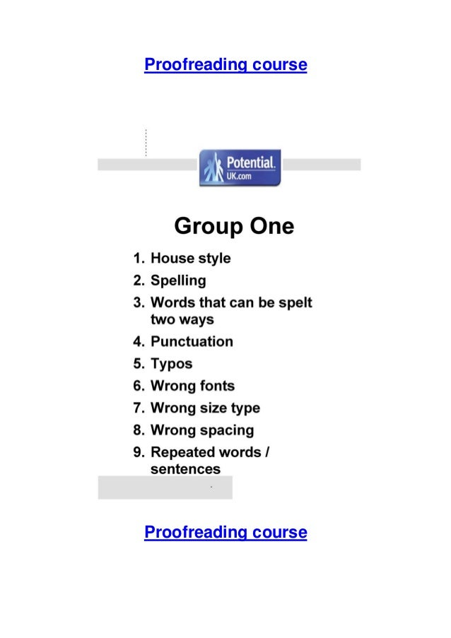 Proofreading course  Proofreading course