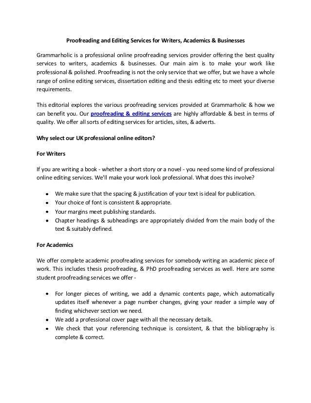 Dissertation proofreading service techniques