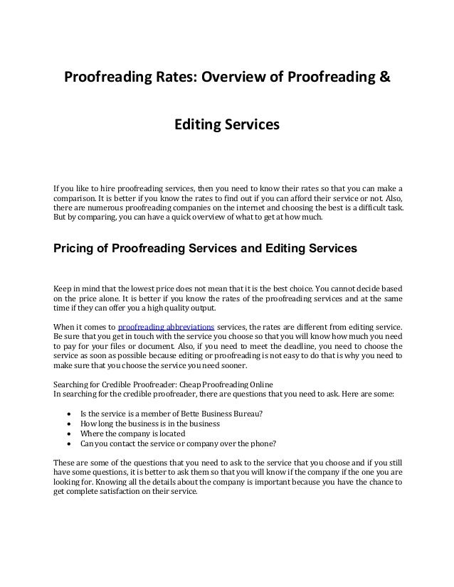 proofreading service rates
