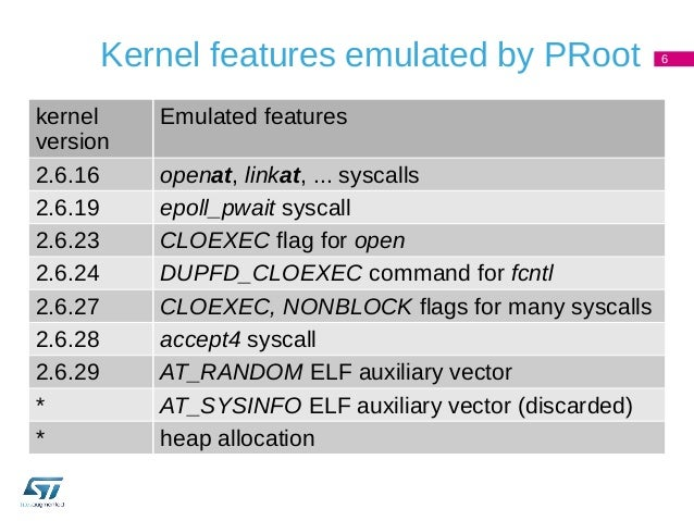 PRoot improved kernel compatibility