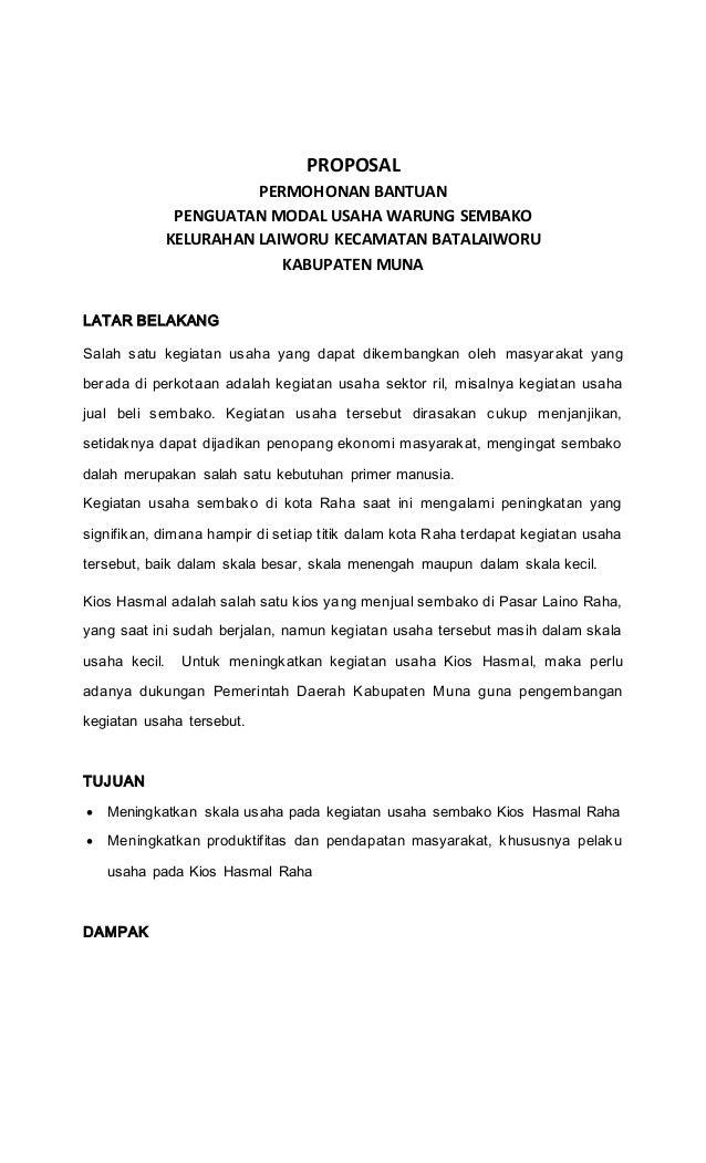 Contoh Proposal Bantuan Modal Usaha Sembako Berbagi Contoh Proposal