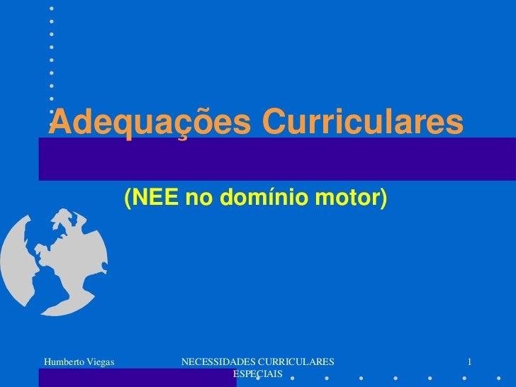 Adequações Curriculares                  (NEE no domínio motor)Humberto Viegas       NECESSIDADES CURRICULARES   1        ...