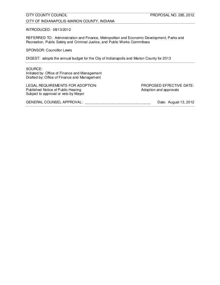 CITY COUNTY COUNCIL                                                        PROPOSAL NO. 285, 2012CITY OF INDIANAPOLIS-MARI...