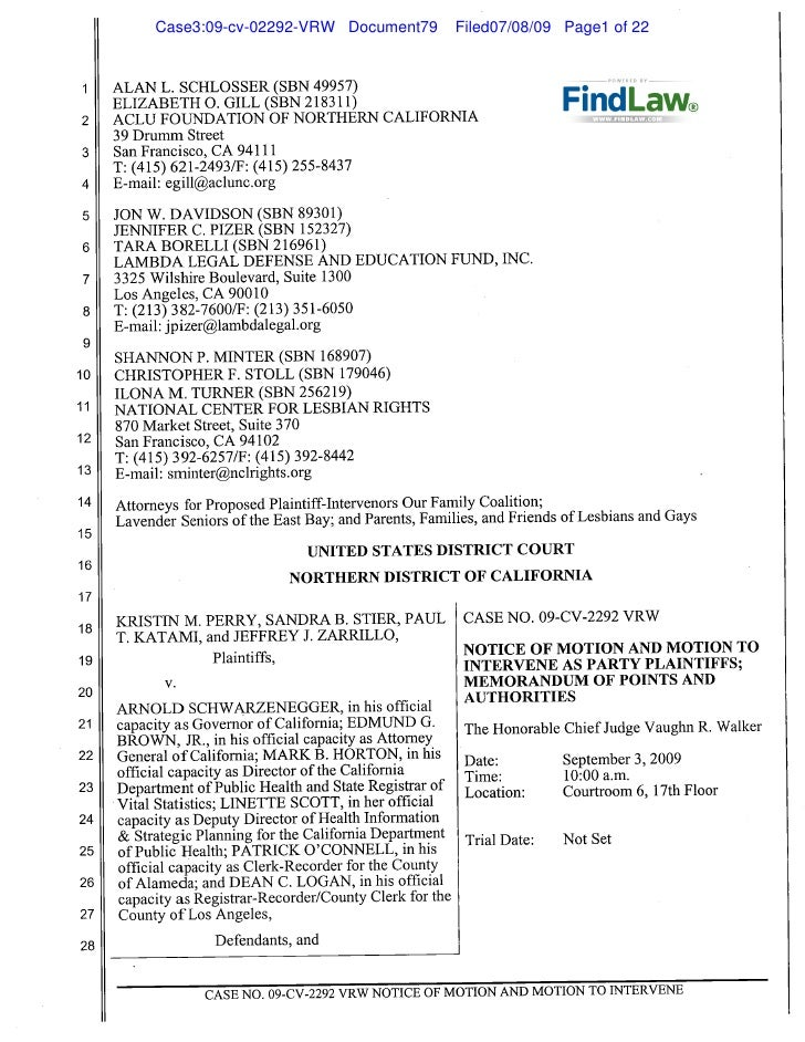 FindLaw | Proposition 8 Motion to Intervene