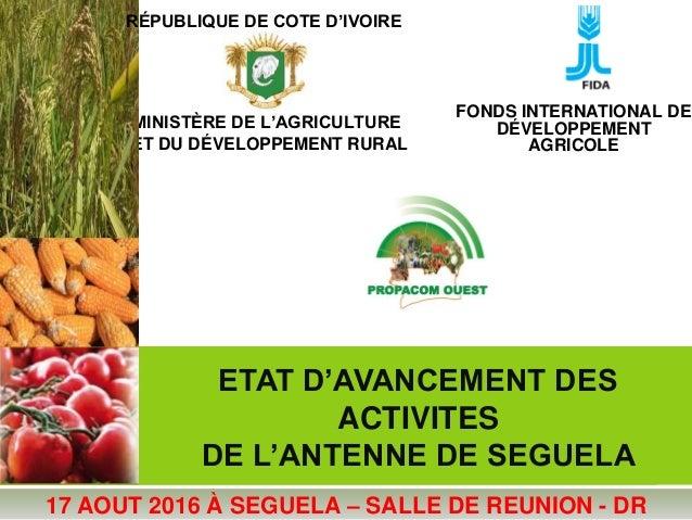 ETAT D'AVANCEMENT DES ACTIVITES DE L'ANTENNE DE SEGUELA MINISTÈRE DE L'AGRICULTURE ET DU DÉVELOPPEMENT RURAL FONDS INTERNA...