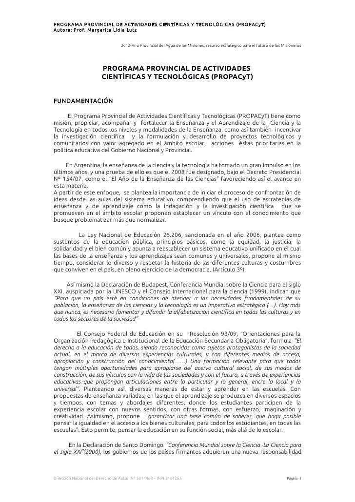 PROGR AMA PROVINCIAL DE ACTIVIDADES CIENTÍFIC AS Y TECNOLÓGIC AS (PROPACyT )Autora: Prof. Margarita Lidia Lutz            ...