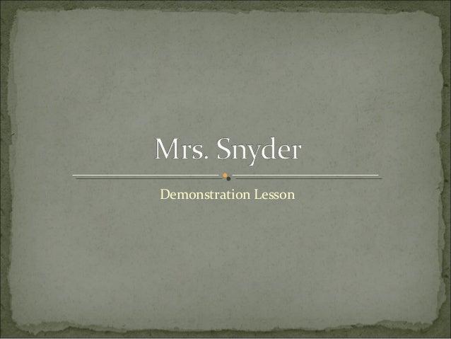 Demonstration Lesson