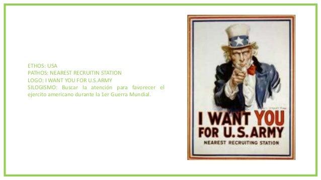 ETHOS: USA PATHOS: NEAREST RECRUITIN STATION LOGO: I WANT YOU FOR U.S.ARMY SILOGISMO: Buscar la atención para favorecer el...