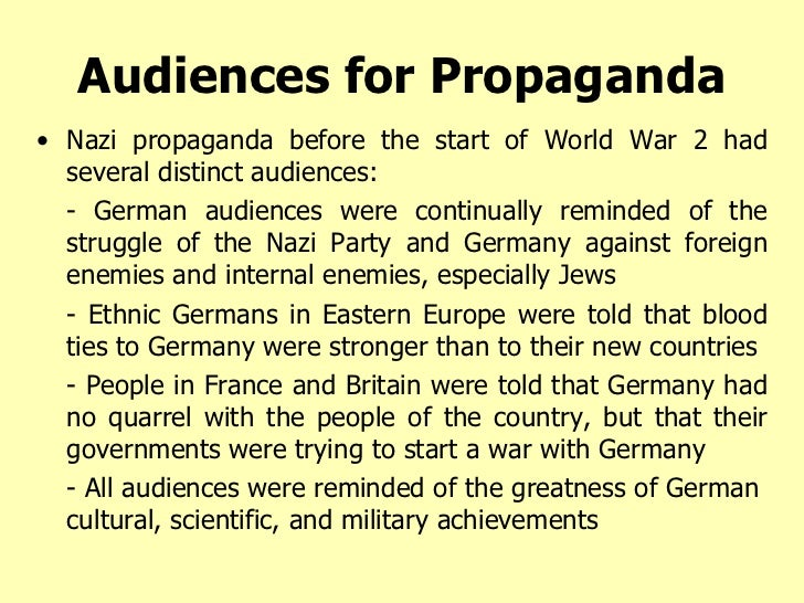 propaganda in nazi germany essay The propaganda used by the german nazi party in the years leading up to and  during adolf hitler's leadership of germany (1933–1945) was a crucial.