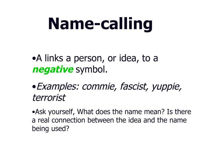 Name Calling: Propaganda