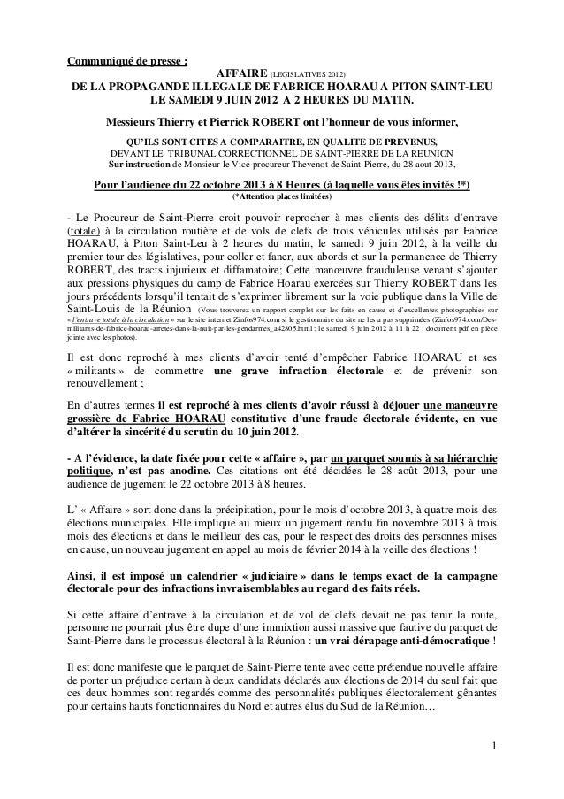 1 Communiqué de presse : AFFAIRE (LEGISLATIVES 2012) DE LA PROPAGANDE ILLEGALE DE FABRICE HOARAU A PITON SAINT-LEU LE SAME...