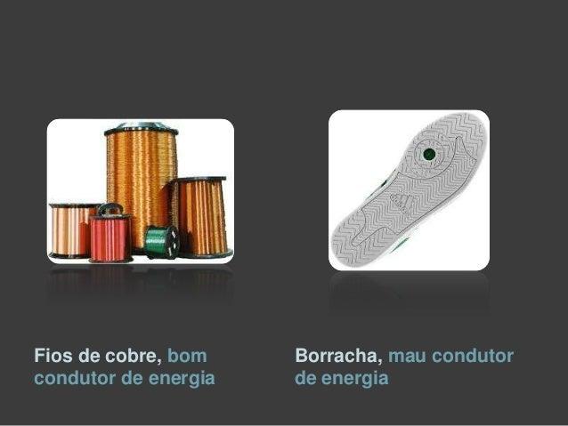 Fios de cobre, bom    Borracha, mau condutorcondutor de energia   de energia