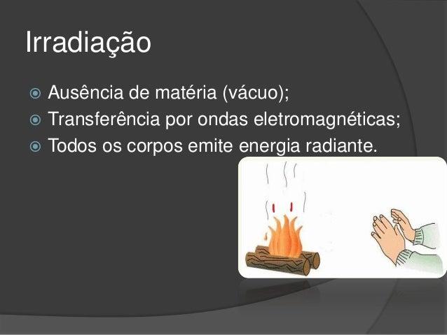 Irradiação Ausência de matéria (vácuo); Transferência por ondas eletromagnéticas; Todos os corpos emite energia radiante.