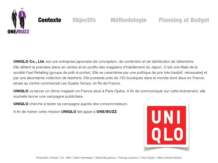 proposition de l 39 tude uniqlo qualitative sur le lancement du mag. Black Bedroom Furniture Sets. Home Design Ideas