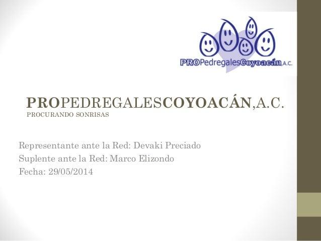 PROPEDREGALESCOYOACÁN,A.C. PROCURANDO SONRISAS Representante ante la Red: Devaki Preciado Suplente ante la Red: Marco Eliz...