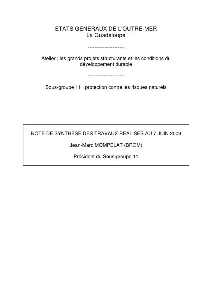 ETATS GENERAUX DE L'OUTRE-MER                   La Guadeloupe                           ----------------------     Atelier...