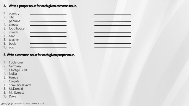 Proper and common noun worksheet – Common Proper Nouns Worksheet