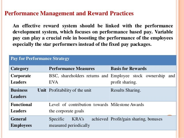 performance management reward system The system also incorporates non financial rewards (recognition, praise, achievement, responsibility and personal growth) and, in many cases, performance management processes employees are motivated by both intrinsic and extrinsic rewards, to be effective, the reward system must recognize both sources of motivation.