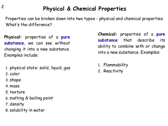 Physical Properties Of A Substance List
