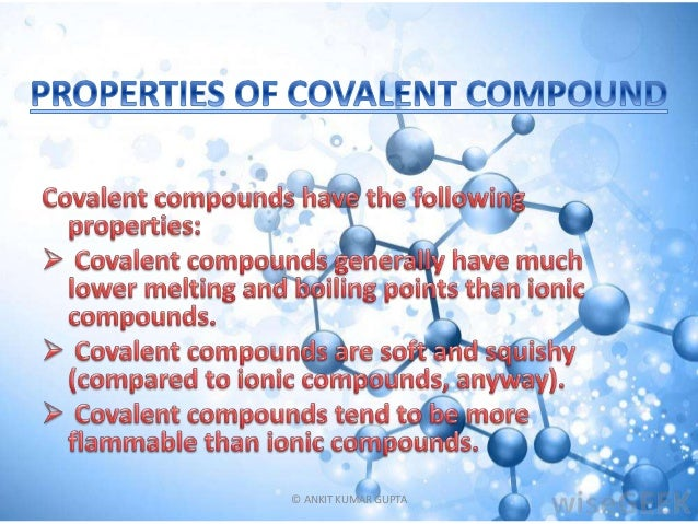 properties and uses of covalent compound