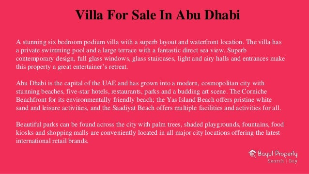 Properties for sale in abu dhabi