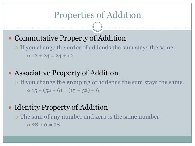 properties of addition