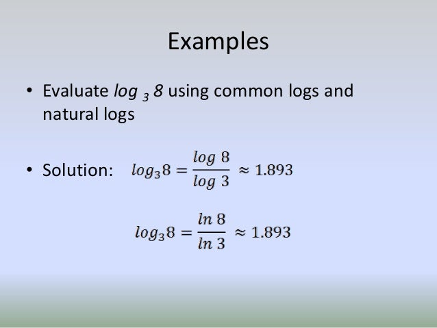Write Log Expression Using Natural Log