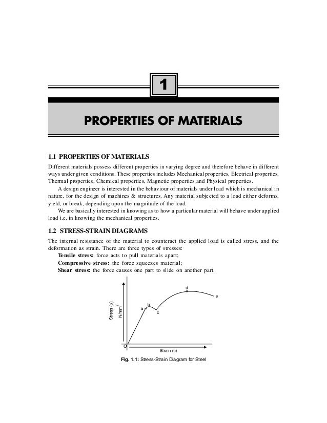 1.1 PROPERTIES OF MATERIALS Different materials possess different properties in varying degree and therefore behave in dif...