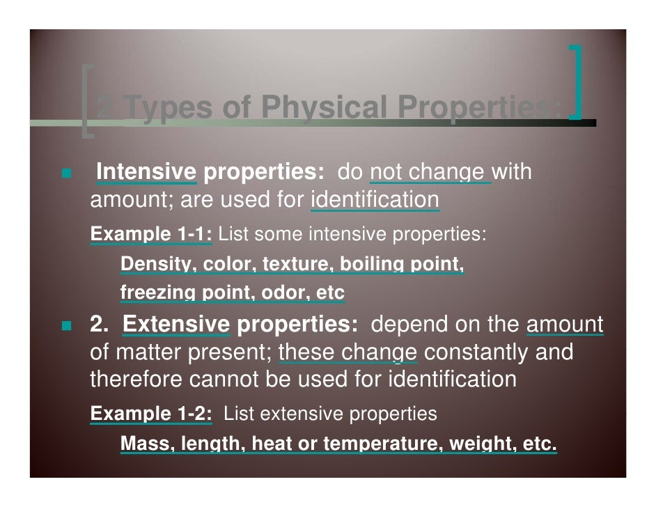 Electricity Or Sound 10 2 Types Of Physical Properties Intensive