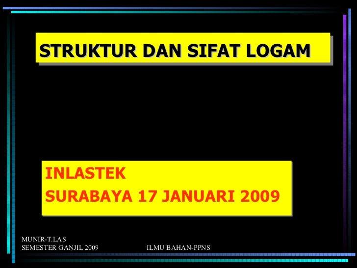 STRUKTUR DAN SIFAT LOGAM      INLASTEK      SURABAYA 17 JANUARI 2009MUNIR-T.LASSEMESTER GANJIL 2009   ILMU BAHAN-PPNS