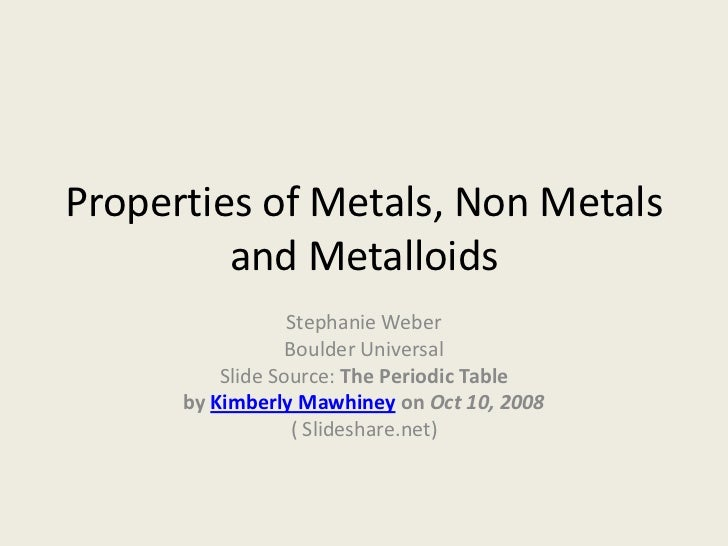 Properties of metals, non metals and metalloids