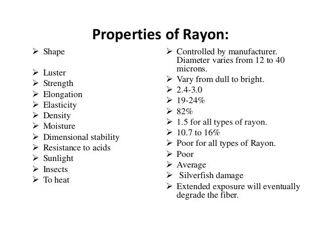 Chemical Properties Of Rayon Fibre