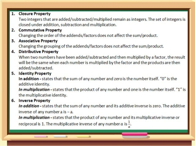 K to 12 - Grade 7 Lesson on Properties of the operations on Integers