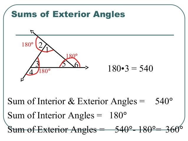 Properties of triangles - Sum of the exterior angles of a triangle ...