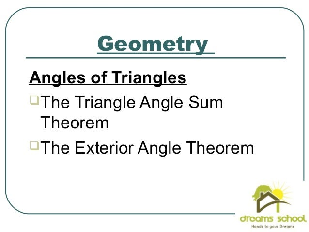 Properties of triangles1 for Geometry exterior angle theorem