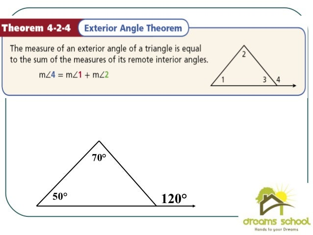 Properties of triangles1 - Measure of exterior angles of a triangle ...