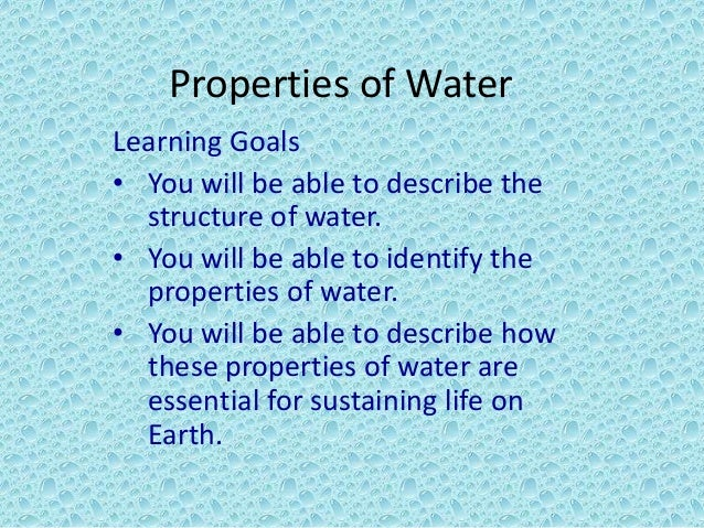 what are the special properties of water